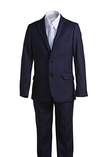 Boys Slim Fit Communion Suit Navy Blue with Suspenders & White Tie (8 -