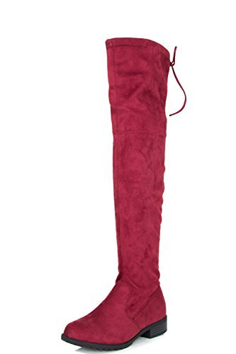 Forever Link Womens Over Knee High Drawstring Tie Lace Up Chunky Thick Heel Boots 8.5 (Rear Traction Links)