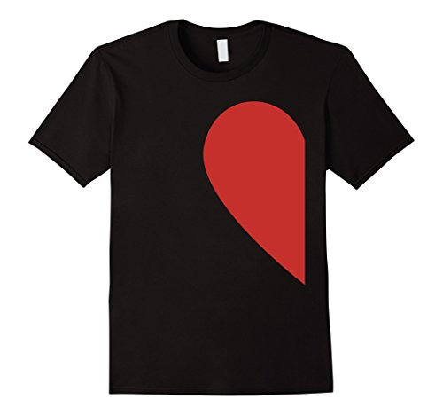 Matching Half Heart Red Valentines Day Twin T Shirt