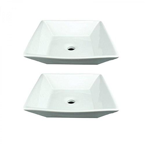 Bathroom Vessel Sinks Square White No Overflow Porcelain Ceramic Art Set Of 2