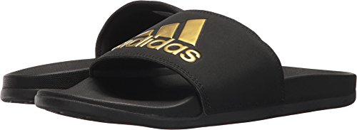 Adidas Women's Adilette Comfort Sport Sandal, Core Black, Gold Met, Core Black, 7 M US