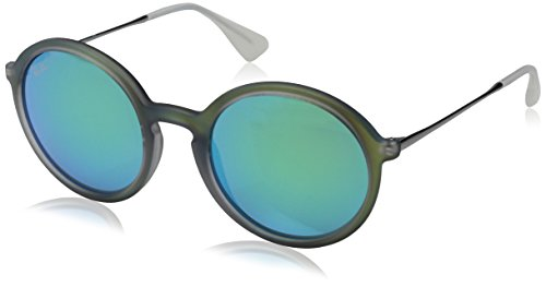 Ray-Ban INJECTED MAN SUNGLASS - SHOT GREEN RUBBER Frame LIGHT GREEN MIRROR GREEN Lenses 50mm - Ban Glasses Round Face Ray