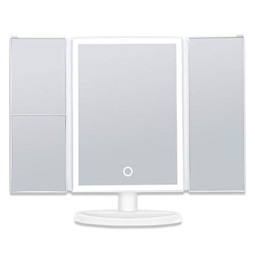Makeup Mirror LED Makeup Mirror Simple European Style Large Square Dressing Mirror Girl Princess Mirror Creative Gifts Beautiful Girl Essential (Color : White)