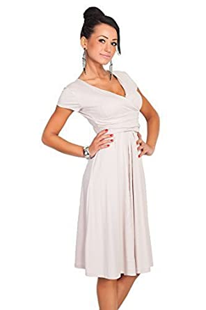 5423dda80e FUTURO FASHION - Robe Cache-Coeur élégante - Femme - Viscose/Coton -  Longueur Genoux/col en V/Manches Courtes - 8416: Amazon.fr: Vêtements et  accessoires