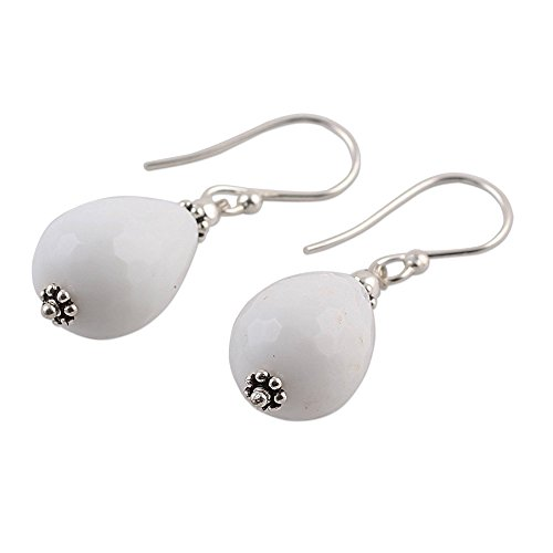 NOVICA White Agate Teardrop .925 Sterling Silver Dangle Earrings Pure Wonder