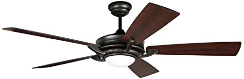 """UPC 647881126155, Ellington ORV56ESP5 Orvus Ceiling Fan with Flat Black/Mahogany Blades and White Frosted Glass, Espresso, 56"""""""