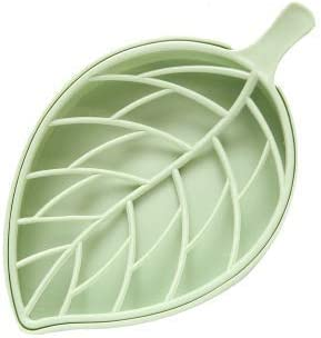 Easy Draining Multilayered Designed Container Case Blue Leaf Shaped Soap Dish for Shower Fleur de Lis Bath or Kitchen