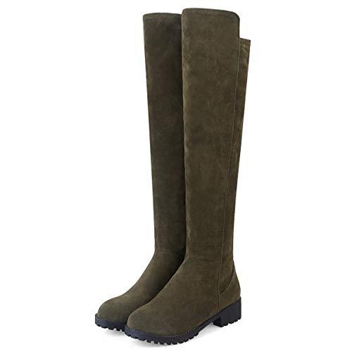 Scarpe Scarpe Stivali Donne Zanpa Zanpa Zanpa al Inverno Pull Ginocchio Piatto Casual On Verde qtqFnX
