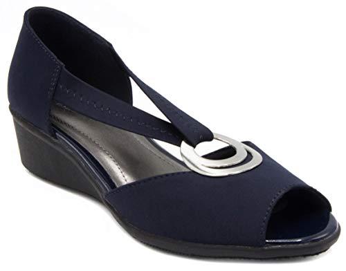 London Fog Womens Cloud Dress Shoe Navy Neoprene - Oxford Es