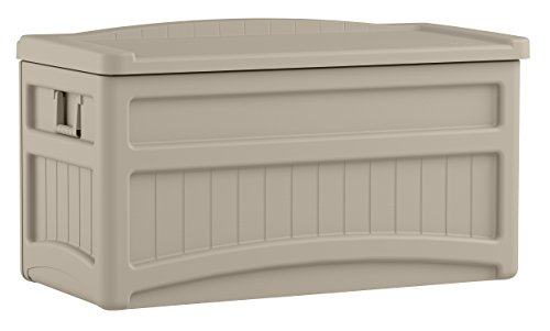 Suncast 73 Gallon Patio Storage Box - Water Resistant Outdoor Storage Container for Patio Furniture, Pools Toys, Yard Tools - Store Items on Deck, Porch, Backyard - Taupe (Wicker Bench Elements Suncast Storage)