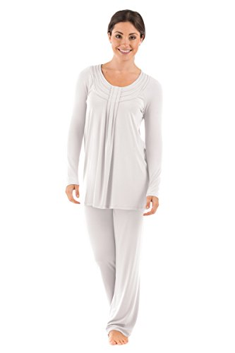Women's Long Sleeve PJs in Bamboo Viscose (Replenish, Natural White, X-Small) Best Hanukkah Ideas for Women ()