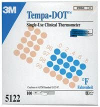 7775941 PT# 5122NS Thermometer Patient Tempa-DOT Oral/ Axillary Fahrenheit 100/Bx Made by Medical Indicators, Inc