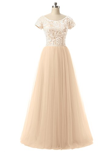 Jazylynbride Ball Gown Scoop Neckline Cap Sleeve Tulle Lace Prom Dress Evening Gown