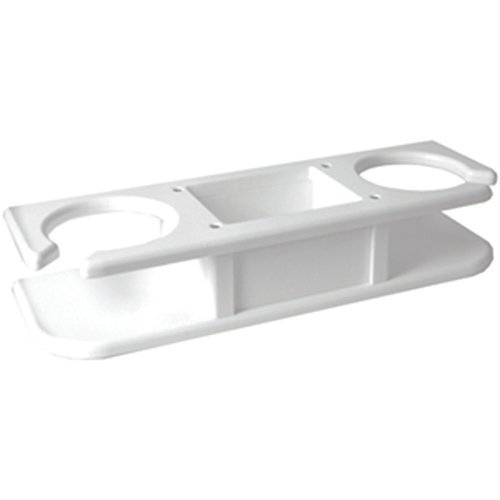 Taco Metals TACO White 2-Drink Cup Holder W/Catch-All Tray Marine RV Boating Accessories