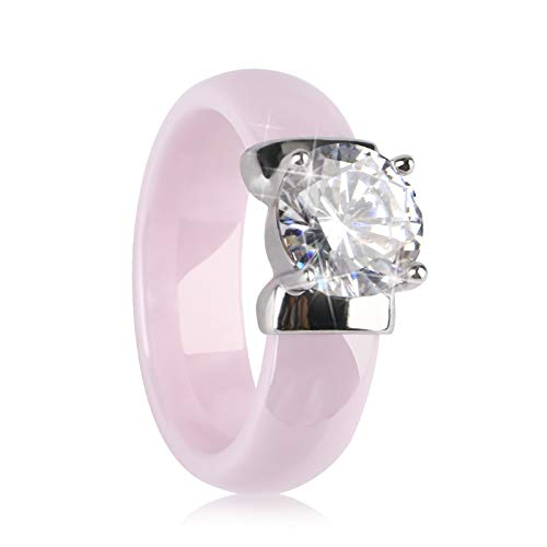 TUHE 6mm Black Ceramic Rings Plus Big Cubic Zirconia Women Engagement Rings Jewelry ... (Pink, 6)