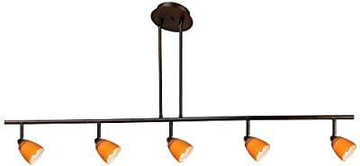 Cal Lighting SL-954-5-RU/OSA Track Lighting with Amber Glass Shades, Rust Finish