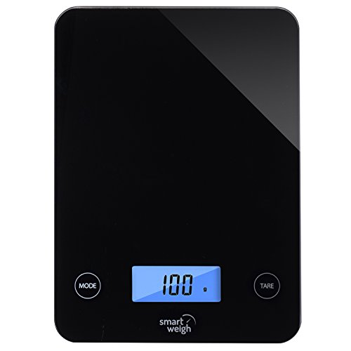 Counter Scale (Smart Weigh Digital Glass Top Kitchen and Food Scale, 5- Unit Modes, Liquid Measurement Technology, Professional Design, Black)