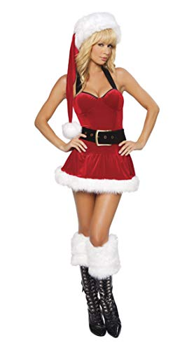 IYOWEL Women's Christmas Lingerie Sexy Santa Outfit Dress Velet Corset Costume (Red Style 1)