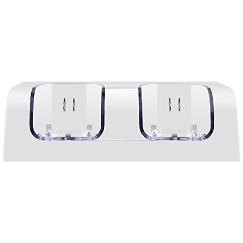 Hokyzam Dual Charger Station for Wii,WL02 Remote Charging dock 2 in 1 Controller charger with 2 Rechargeable Batteries-White (Dual Charger Remote Wii)