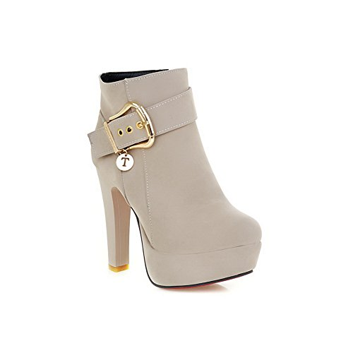 A&N Womens Chunky Heels Metal Ornament Buckle Frosted Boots Beige 1KLD34N