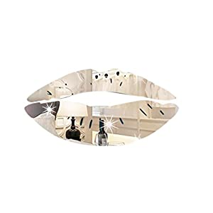 REYO Wall Stickers 1 Cent Item Removable Lips Mirror Wall Art for Kids Living Room Bedroom Kitchen Office Wall Decal Family Mural Home Decor (Silver, 25X7.5cm)