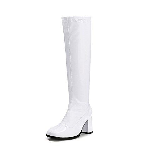 LIURUIJIA Women's Go Go Boots Over The Knee Block Heel Zipper Boot White-39 by LIURUIJIA