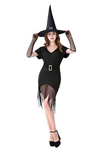 Cute Plus Size Witch Costumes (Witch costume Dress Adult Women's Black Sexy Dress With Hat Plus Size- 2XL/3XL)
