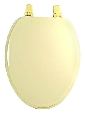 Aqua Plumb TS104BO Elongated Color Matched Hinge Wood Toilet Seat, Bone