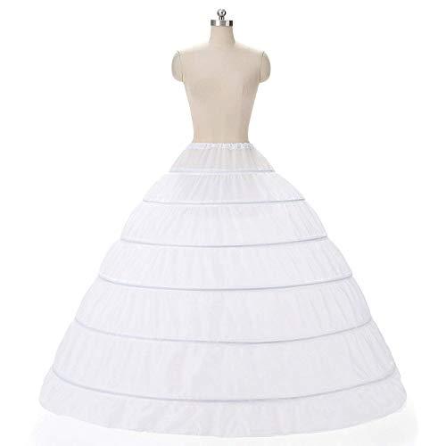 (Nyeutho Women's Full A-Line 6 Hoop Floor-Length Bridal Dress Gown Slip Petticoat (6 Hoops Ball Gown Petticoat) …)