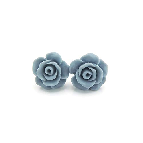 Plastic Post Rose Stud Earrings For Metal Sensitive Ears 13mm Matte