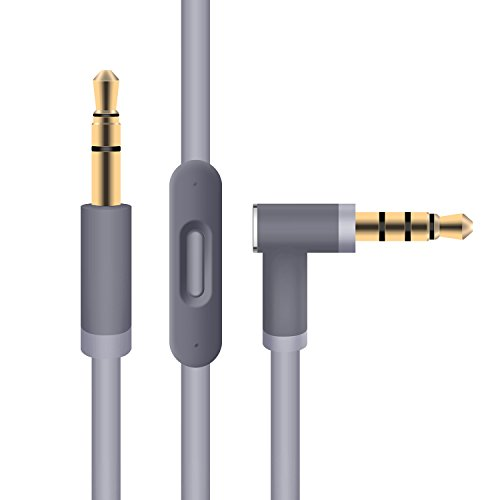 Replacement Audio Cable 3.5mm Cord Wire with Built-in Microphone and Control Car Audio Cable Iphone Ipad MP3/4 for Beats by Dre Headphones Solo Studio Pro Detox Wireless Mixr Executive Pill (Gray)