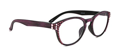 The Sage, Multi Focal Computer Reader No Line Progressive Bling Women Reading glasses Adorned with L. Amethyst and Amethyst Swarovski Crystal, Reduce Eyestrain, Anti Reflective Lens, Wood Purple.