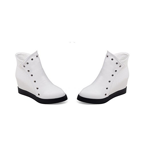 AgooLar Women's High-Heels Soft Material Low-top Solid Zipper Boots with Rivet White DyrsWi6Y