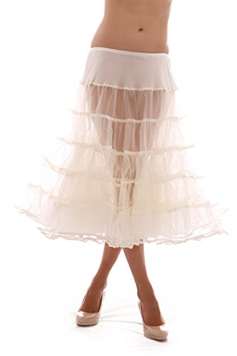 - Melonie Tea Length Net Crinoline - for Stiff Structured Support Under Vintage Clothing Rockabilly or Wedding/Formal Dress Ivory