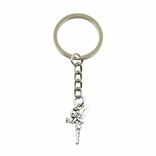 New Fashion Men Keychain DIY Metal Holder Chain Angel Fairy Tinkerbell 25x15mm Silver Pendant - Tinkerbell Metal