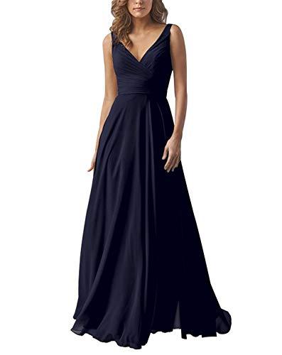 Yilis Double V Neck Chiffon Bridesmaid Dress Long Wedding Evening Party Dress Navy Blue Size10