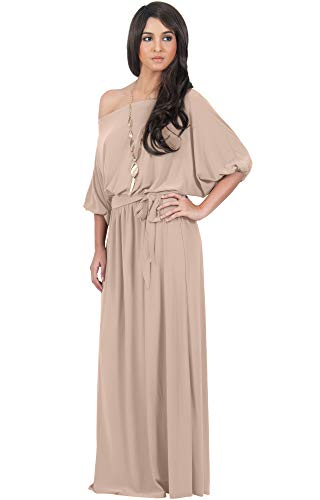 KOH KOH Plus Size Womens Long Sexy One Off Shoulder Flowy Casual 3/4 Short Sleeve Cocktail Wedding Party Guest Maternity Gown Gowns Maxi Dress Dresses, Tan Light Brown XL 14-16