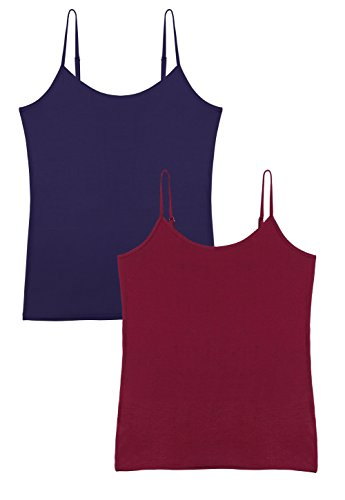 Vislivin Women's Basic Solid Camisole Adjustable Spaghetti Strap Tank Top Dark Blue/Wine Red S ()