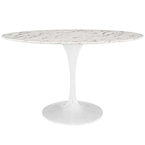 """Modway EEI-1134-WHI Lippa Mid-Century Modern 54"""" Oval Artificial Marble Dining Table, White Base"""