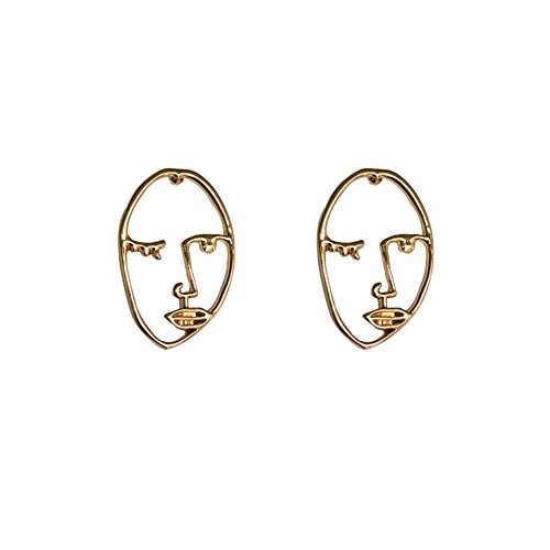 HeyHugH Statement Human Face Shaped Hollowed-out Stud Gold Earrings Abstract Jewelry - Earrings Abstract