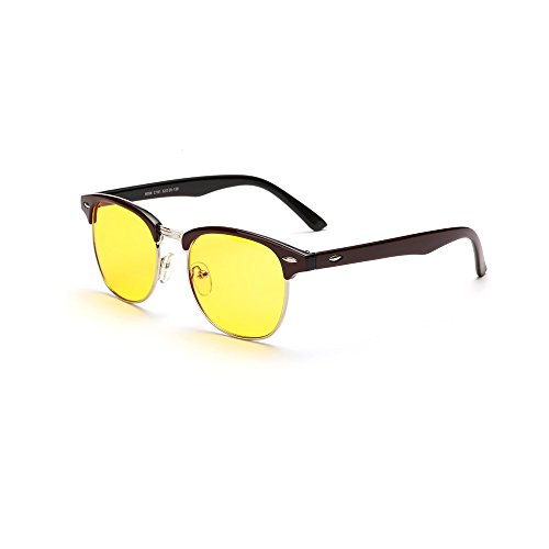 Cyxus Blue Light Filter [Sleep Better] UV Blocking Protection Glasses Eyewear, Unisex(Men/Women), Retro Round Tortoise/Black Frame Yellow Lens CY-EW-003T - Computer Protective For Use Glasses