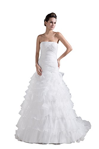 VogueZone009 Womens Strapless Pongee Satin Wedding Dress with Fold, ColorCards, 16 by VogueZone009
