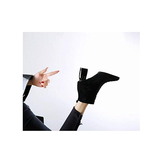Mhcdxgn Spessa Con Stivali Martin Donna Comoda Personalità Appuntita Rivetto In Pelle Scamosciata Autunno E Inverno Moda Tacco Alto