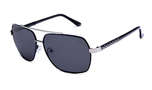 UV400 polarisées Hommes Piazza lunettes black frame Sunglasses TL silver qzw64BvIx