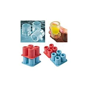 Zehui 4 Cup Ice Cube Shot Shape Rubber Shooters Glass Freeze Mold bar ice Mold Color Random