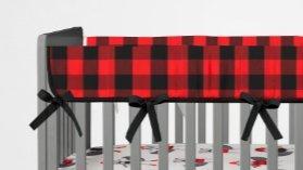 AllTot Crib Rail Guard- Red and Black Buffalo Plaid- Handmade in the (Red Rail Guard)