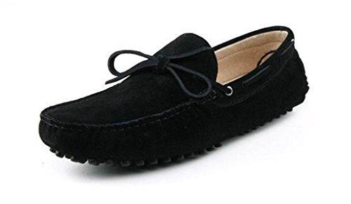 Minitoo Herren s New Knoten Wildleder Driving Loafer Penny Boot Schuhe, Schwarz - Schwarz - Größe: 39.5