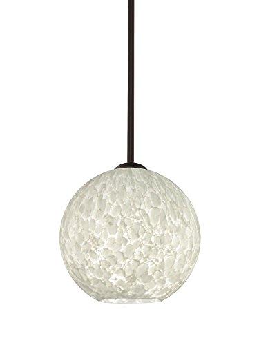Br Pendant 1 Light Stem (Besa Lighting 1TT-COCO819-BR Coco 8 - One Light Stem Pendant, Bronze Finish with Carrera Glass)