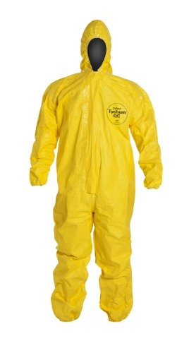 DuPont Tychem 2000 QC127S Disposable Chemical Resistant Coverall with Hood, Elastic Cuff and Serged Seams, Yellow, X-Large (Pack of 12) by DuPont