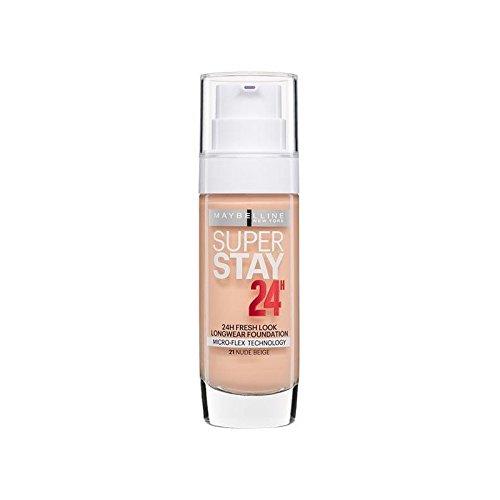 メイベリンの24時間リキッドファンデーションヌードベージュ30ミリリットル x4 - Maybelline SuperStay 24h Liquid Foundation Nude Beige 30ml (Pack of 4) [並行輸入品] B072L43KTJ